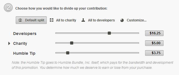 Si può scegliere quanti soldi destinare agli sviluppatori del gioco, quanti da donare in beneficienza e quanti da lasciare come mancia al sito che ospita la promozione.